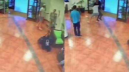 男子酒店家暴妻子 被酒店总管抱摔制服