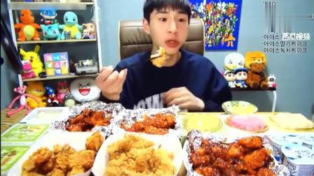 资深吃货一枚 大胃王奔驰小哥吃炸鸡和冰淇淋蛋糕, 还得吃酸奶和腌萝卜