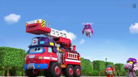 超级飞侠:大勇用云梯送麦斯上去,利用昆虫果冻吸引雨果下来!