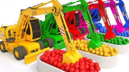 彩色工程车挖掘机运输货物