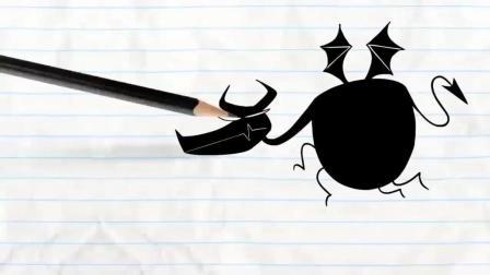 搞笑铅笔动画, 铅笔人被怪物追, 美女走在路上也遭殃