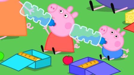 小猪佩奇和弟弟乔治一起去野餐 简笔画