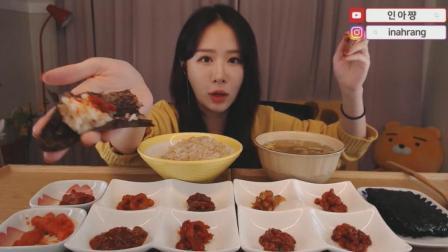 韩国吃货小姐姐, 吃10种鱼酱, 配米饭用紫菜包着大口吃, 真过瘾
