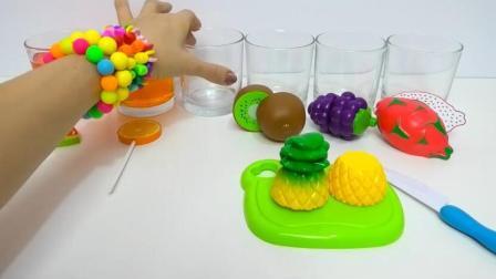 儿童手工水果橙子火龙果猕猴桃玩具微波炉彩虹水diy水果棒棒糖