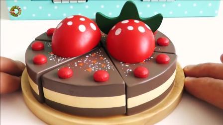 木制厨房烹饪玩具切蔬菜烘焙巧克力草莓和蛋糕, 楚楚亲子游戏