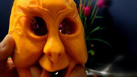 万圣节鬼脸南瓜雕刻过程分享, 看到最后成品差点吓哭宝宝了!