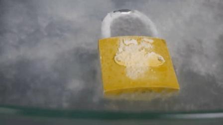 把铁锁放在液氮里, 坚硬的铁锁会不会粉身碎骨? 睁大眼睛看好了!