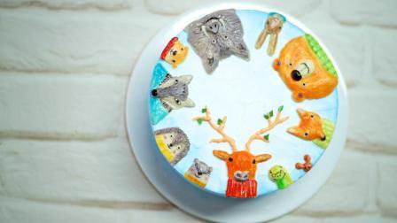 丑萌浮雕彩绘蛋糕组装过程