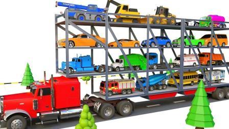 工程车小汽车玩具来到大卡车的车厢