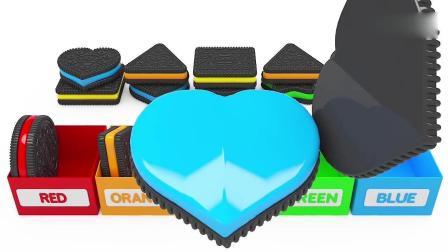 亲子早教动画 给好吃的奶油饼干按颜色分类, 学习色彩和英语!