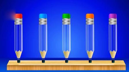 亲子早教动画 给透明的铅笔头容器里装满彩色颜料水, 学习各种颜色名称