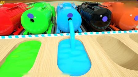 亲子早教动画 给泳池里注入彩色染料, 小汽车, 到染料里变换颜色