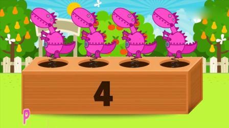 亲子早教动画 跟粉红猪小妹玩游戏, 看看小锤敲下后, 会弹出什么 , 认识动物颜色