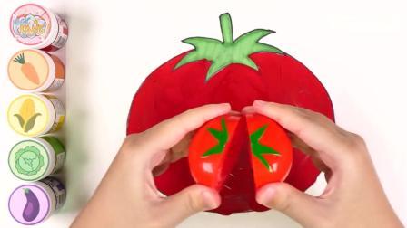 亲子早教动画 画出各种蔬菜涂上正确颜色认识水果蔬菜名称