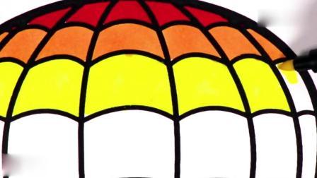 亲子早教动画 教小朋友画热气球图案, 涂上各种颜色, 学习颜色英文名称