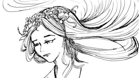 简笔画: 漂亮的长发女郎