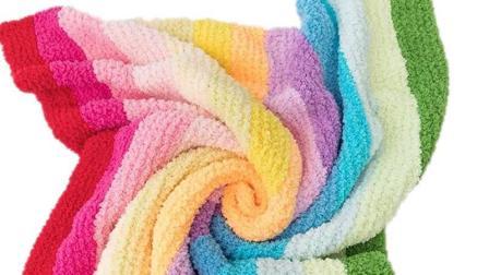 绒绒线彩虹毯编织教程