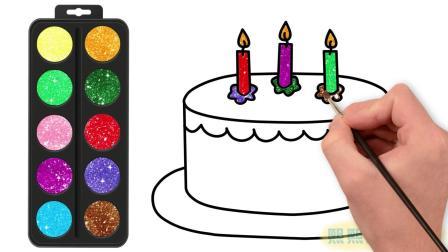 宝宝学画画趣味早教启蒙: 画3岁生日蛋糕认颜色