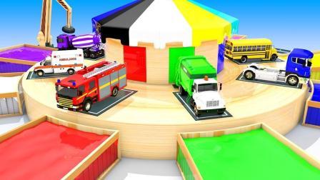 大货车帮助小汽车回到多层停车场