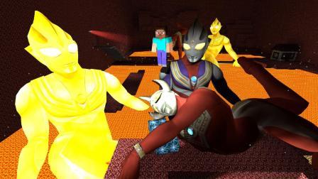 八戒解说 我的世界游戏: 泡过岩浆的奥特曼, 变成了黄金色