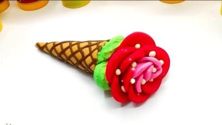 玫瑰花奶油造型蛋筒冰淇淋彩泥手工制作儿童diy 先搓成条交叉排列