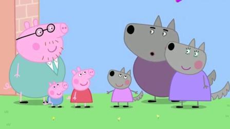 小猪佩奇: 狼先生来验收他的新房子 他使劲的吹, 也没把墙吹倒!
