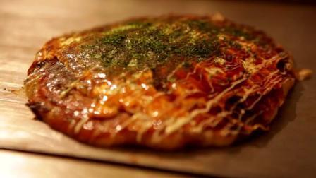 大阪烧 日式煎饼 杂菜煎饼 料太足了, 满满酱汁一口满足