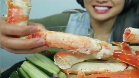 泰国吃货SAS微笑姐, 吃加拿大巨大帝王蟹腿