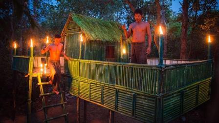 野外求生, 用竹子搭建庇护所小屋, 真的非常完美!
