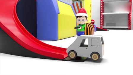 亲子早教动画 小正太操作染色机器, 把送过来的小汽车都染成了彩色