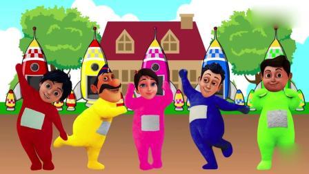 亲子早教动画 小正太和小萝莉, 一起乘坐火箭, 趣味学颜色和数字