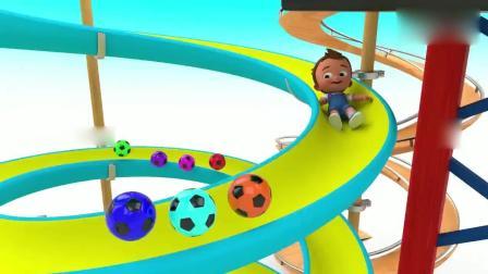 亲子早教动画 小正太开着小汽车到滑梯上面, 抱着足球滑下来, 掉到彩球泳池里!
