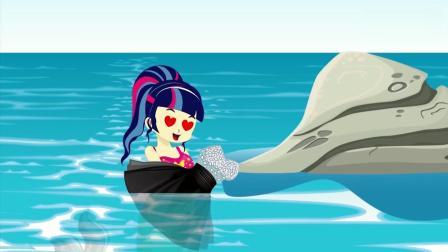 亲子早教动画 小正太买了漂亮的礼服送给美人鱼, 美人鱼小姐高兴的在水中跳舞!