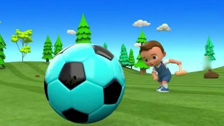 亲子早教动画 小正太拿着小锤敲打足球, 足球穿越小动物门洞, 认识颜色!