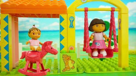 爱探险的朵拉荡秋千过家家儿童积木玩具