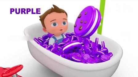 亲子早教动画 3D动画创意男孩淋浴彩色饼干 学习颜色