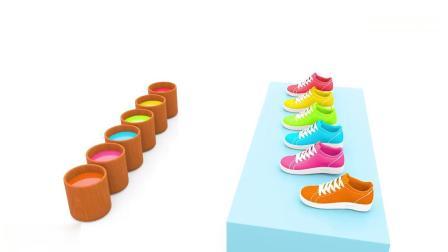 亲子早教动画 3D儿童彩虹鞋踢足球趣味学习颜色儿童教育