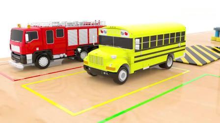 亲子早教动画 3D街头车辆神奇机器人染色趣味学习英文颜色