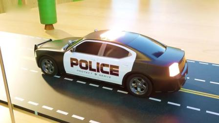 亲子早教动画 3D警察游戏挖掘机卡车救援趣味学习颜色