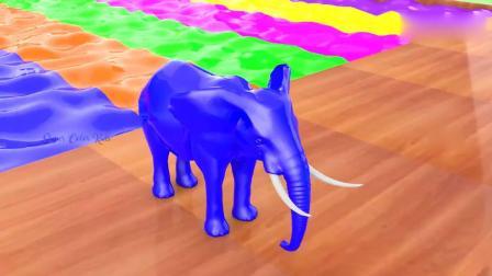 亲子早教动画 3D卡通大象穿越魔法液变颜色 趣味学习
