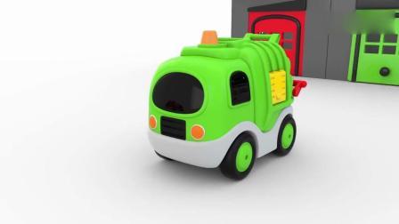 亲子早教动画 3D卡通街头彩色玩具车辆趣味学习颜色