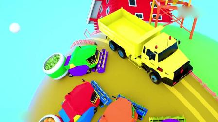 亲子早教动画 3D快乐星球农场拖拉机收获蔬菜学习颜色