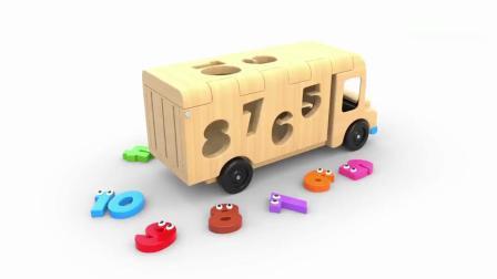 亲子早教动画 3D木质卡车玩具趣味学习数字颜色