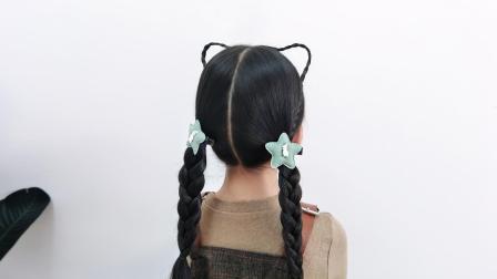 小女孩很爱的猫耳朵发型原来是这样扎的, 很简单的哦