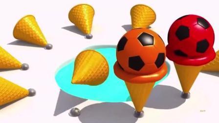 幼儿色彩启蒙: 3D脆皮筒放水里制作出足球图案的冰淇淋甜筒