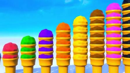 幼教教育音乐卡通动漫 宝宝冰淇淋叠罗汉游戏 学习颜色数字