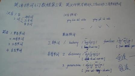 英语拼词入门教程第3集: 英汉对照学拼词之三音节词和多音节词