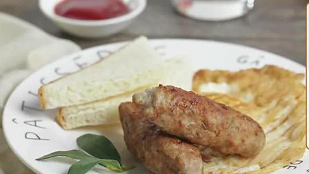 经典美式早餐组合, 肉肠煎蛋吐司给你元气一整天