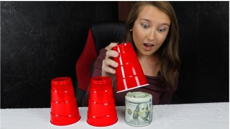 土豪小哥的纸杯游戏, 50%的几率获得1000美元, 或者加倍玩下去!