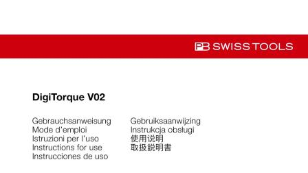 PB Swiss Tools Instruction for use DigiTorque